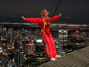 Maureen Irwin Blakeley on the Edge walk on top of the CN Tower